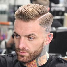 High Razor Fade with Part and Beard #HairMenStyle