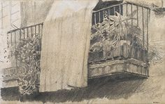 The Athenaeum - Balcony with Flowers and Curtain (Santiago Rusiñol Prats - ) Royal Mail, Van Gogh, Balcony, Illustration, Poster Prints, The Incredibles, Painting, Colours, Curtains