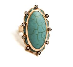 Azaara Turquoise and Pave Clear CZ Ring