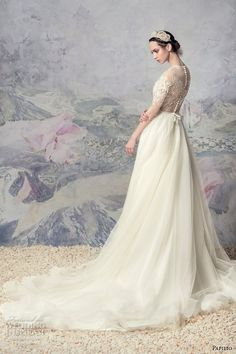 papilio 2016 bridal half sleeves illusion jewel neckline heavily  embellished bodice romantic tulle skirt a line 7088a92f70