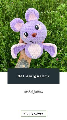Crochet Bat, Crochet Doll Pattern, Crochet Patterns Amigurumi, Crochet Animals, Amigurumi Toys, Pattern Cute, Bat Pattern, Handmade Toys, Handmade Ideas