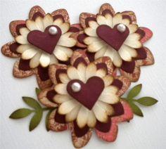 Set of 3 Paper Flower Embellishments Subtle by KindrasCreations