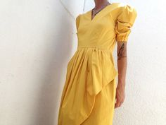 Vintage 80s Guy Laroche yellow asymmetrical dress