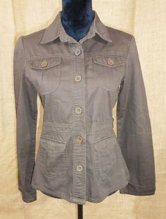 Footjoy women's jean jacket brown cotton size Large front pockets military style #FootJoy #JeanJacket #Business