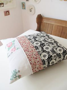 Perfectly patched and pieced pillow cover (so beautiful!) from Dottie Angel