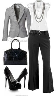 Black, White & Grey Blazer... I love this classy look. no to the heals but ye on everything else