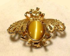 Insect Vintage Brooch/Pin w/Inlaid Tiger Eye Stone ..SOLD