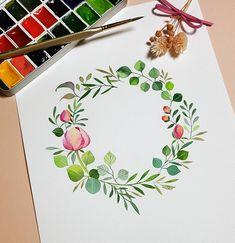 """레벨1 수업교재 준비가 젤 어렵다 Watercolor Simple Wreath Illustration •Fabriano Artistico CP 300g •Schmincke Horadam •Babara 777R 4"""" . . . . 모든 그림은…"""