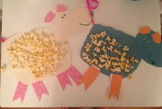 Preschool Easter Craft:  Popcorn Lambs