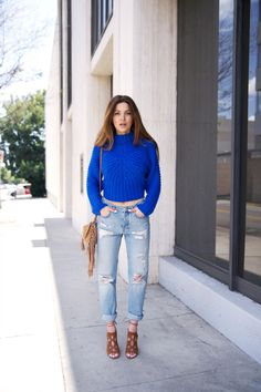 "Christine Crop Sweater Monki Boyfriend Jeans Aquazzura ""Get Me Everywhere"" Bootie Mango Fringe Bag."
