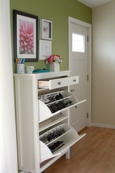 The Ikea Hemnes shoe cabinet is perfect for storing shoes and keeping them out of sight. This eleven inch deep shoe cabinet is great for small entryways or mudrooms. #SpringDream