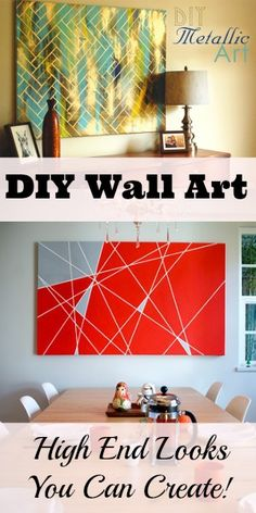 7 Gorgeous DIY Wall Art Projects that Look High End. i want to put the short dresser in the living room and have a large artwork above it large art diy, diy art projects, diy crafts art, large diy wall art, diy living room art, diy canvas art living room, large wall art diy, gorgeous diy, diy large wall art
