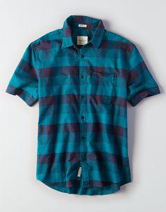 deeafd451cf AE Short Sleeve Plaid Button-Down Shirt