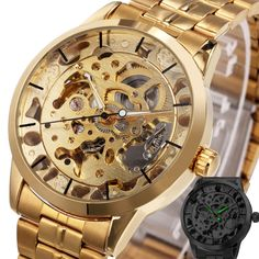 WINNER Luxury Golden Men Automatic Mechanical Wrist Watches Skeleton Louvre Series Luminous Hands Full Stainless Steel Watches #Affiliate