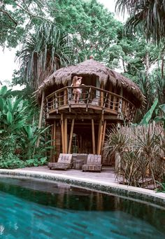 Der verträumteste Luxus-Baumhausaufenthalt in Indonesien Jungle Tree, Jungle House, Forest House, Luxury Tree Houses, Cool Tree Houses, Tree House Interior, Bamboo House Design, Bamboo Building, Tree House Designs