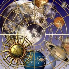 The zodiac wheel, with the planets superimposed; great graphic