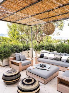 Grayfox Neutral Outdoor Space Featuring Nods to Malibu's Laid Back Style Modern Farmhouse Patio by Alexander Design Terrace Design, Patio Design, Garden Design, Outdoor Rooms, Outdoor Living, Outdoor Decor, Outdoor Ideas, Pergola Patio, Backyard Patio