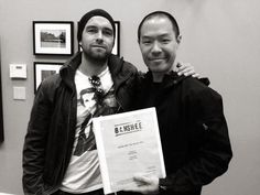 Antony Starr and Hoon Lee with the script for Season 2 of BANSHEE