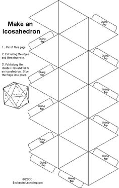 Paper template for an icosahedron (or for the nerds, a d20)