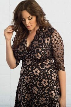 Our plus size special occasion Mademoiselle Lace Dress is even more stunning in a rose gold and black lace. This color combination really enhances the classic A-line silhouette and scalloped lace design. Browse our entire made in the USA collection online at www.kiyonna.com.