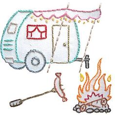 camping embroidery