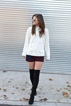 Night Moves | winter fashion, winter outfit ideas, suede shorts and over the knee boots, fashion blogger, street style, winter look, To Be Bright