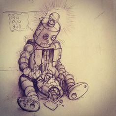 skullpellartwork.com, steve bauer, Skullpell Artwork, dark art, Sinnträger Tattoo, Leipzig, Roboter, robot, Blechmann, Herz, heart, kaputt, broken, traurig, sad, Trauer, grief, Glühbirne, electric bulb, Lebensenergie, Skizze, Zeichnung, drawing, Sketch