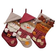 JUN-Q Pack Classic Christmas Stockings Cute Santa's Toys Stockings Plush Applique Style Felt Christmas Stockings, Detailed Designs, Embroidered Edges, Hanging Loops Christmas Gift Bags, Christmas Candy, Christmas Gifts, Christmas Eve, Holiday, Target Christmas Stockings, Xmas Stockings, Reindeer Decorations, Christmas Party Decorations