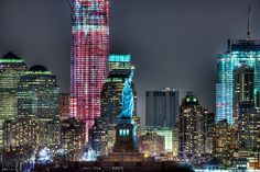 Lady Liberty with the Freedom Tower Behind