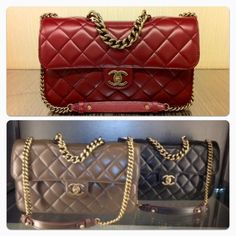 Chanel perfect edge, smooth calf GHW in red, kakhi, black