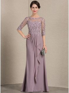 A-Line/Princess Scoop Neck Floor-Length Chiffon Lace Mother of the Bride Dress With Cascading Ruffles - Mother of the Bride Dresses - JJsHouse Mob Dresses, Fall Dresses, Nice Dresses, Fashion Dresses, Girls Dresses, Bridesmaid Dresses, Bride Groom Dress, Bride Gowns, Vestidos Mob