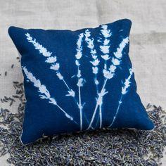 cyanotype lavender pillow