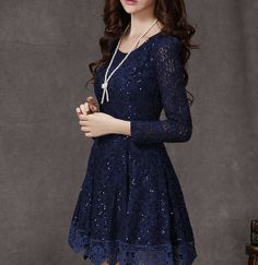 Lace dress with Sequins Little blue dress Long Sleeves Fit-and-flare Lace dress Wedding dress Party dress Fashion Wedding White yellow on Wanelo