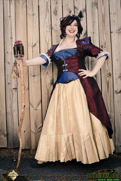 Steampunk Snow White #steampunk #snow #white #disney #snowwhite #princess #outfit #dress #gown #halloween #costume #DIY #dress #corset #red #blue #Yellow #cape #skirt #party #cosplay