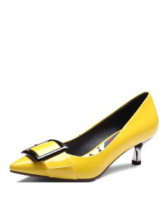 #VIPme Yellow Cow Leather Pointy Toe Buckle Kitten Heel Pumps ❤️ Get more outfit ideas and style inspiration from fashion designers at VIPme.com.