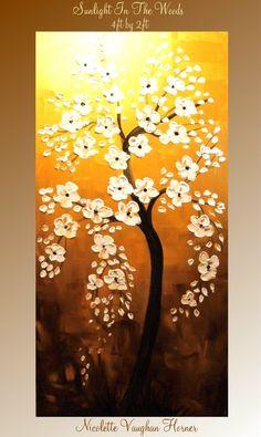 ORIGINAL XLarge gallery wrap canvas   modern mixed media impasto floral Landscape  Trees fine  art   painting  by Nicolette Vaughan H via Etsy.