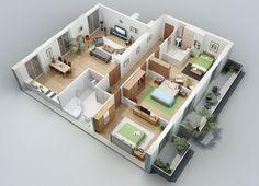 plantas de casas com 2 quartos com cozinha americana 3d 4