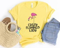Crazy Flamingo Lady Shirt, Funny Pink Flamingo Quote Gift, Womens Flamingo Short-Sleeve Unisex T-Shirt Flamingo Gifts, Flamingo Party, Pink Flamingos Birds, Pun Gifts, Prism Color, Gift Quotes, Fabric Weights, Unisex