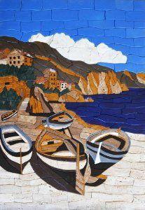 Seashore-Natural-View-Stone-Art-Petal-Mosaic-Hand-Made-Wall-Decor image