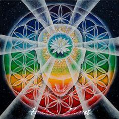Emerging Consciousness by Andrea - Acrylic with Swarovski crystals Tantra, Chakras, Namaste, Psy Art, Sacred Architecture, E Mc2, Shape Art, Religious Symbols, Human Condition