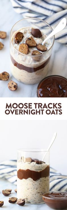 Try this overnight oat recipe to get a HEALTHY variation including a vanilla base with a fudge swirl and cookie dough pieces. This overnight oatmeal recipe is perfect for meal prep throughout the week if you are looking for so Rolled Oats Recipe Overnight, Overnight Oatmeal, Overnight Breakfast, Quaker Oats Recipes, Oatmeal Recipes, Breakfast Dishes, Breakfast Recipes, Breakfast Ideas, Fudge