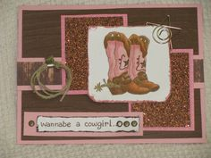Wannabe a Cowgirl card created by irishgreensue and posted on Splitcoast Stampers; she used Stamps: Great Impressions Boots; Paper: Pretty in pink, Choc chip, wwhite, copper glitter paper; Ink: Brown Memento; Accessories: brads, twine, star paper clip and metal fastener (another card for Linzi)