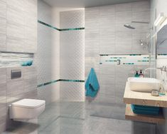 Light-grey bathroom with turquoise decorations House Design, Decor, Printed Shower Curtain, Light Grey Bathrooms, Basic Shower Curtain, Grey Bathrooms, Room Tiles, Bathtub, Tile Bathroom