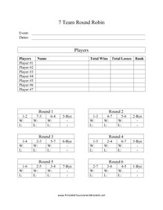 This free printable is a round robin bracket that can fit for 6 team draw template