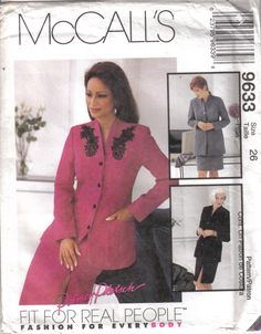 Vintage McCall's Factory Folded Suit Jacket Skirt Pattern 9633  Size 26 Bust 48…