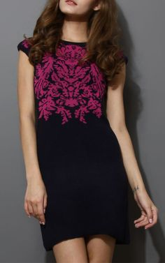 Rose Red Jacquard Knitted Pencil Dress