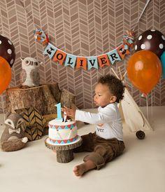 Camping 1st birthday / Woodland cake smash / 1st birthday boy