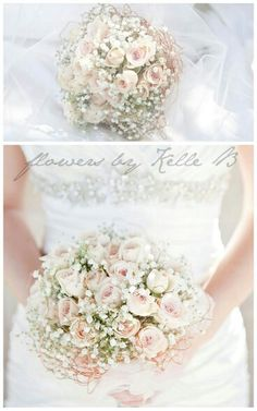 Absolutely Lovely Ballerina Bouquet With Creamy Champagne Roses & Gypsophila>>>>