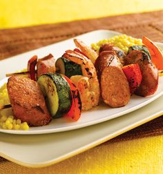 Tasty Grilled Sweet & Smoky BBQ Chicken Sausage & Shrimp Kabobs Over Couscous