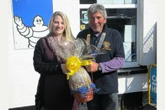 EGGCITING: Ray Fursdon and Leanne Chard with one of the   eggs.